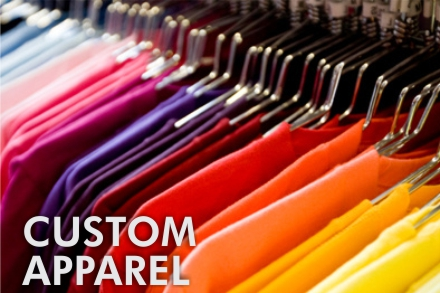 We print custom t-shirts and hoodies in house with complete logo design. Full color Printing available, No Minimums.