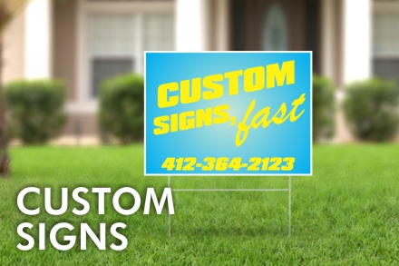 Custom Vinyl Signs of all Kinds, Coroplast Yard Signs, Large Personalized Banners, Professional Business Window Lettering
