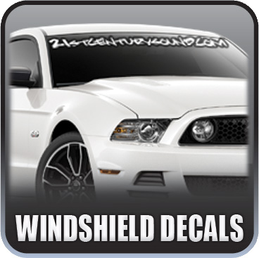 Custom Vinyl Windshield Decals made to fit your vehicle perfectly while enhancing its image.